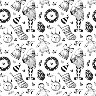 Christmas seamless pattern. toys, snowman, wreath and other christmas elements. sketch