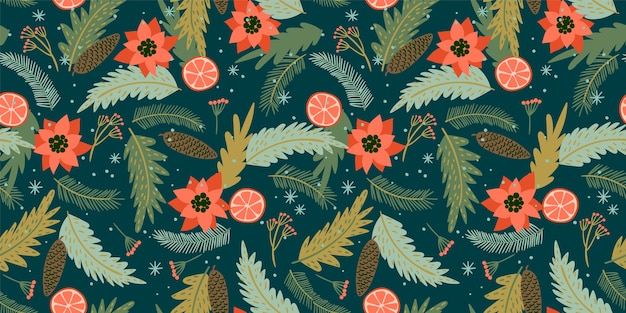 Christmas seamless pattern. trendy retro style.