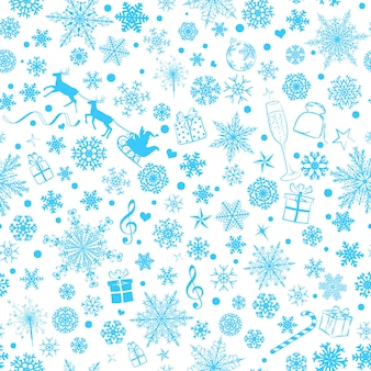 Christmas seamless pattern of various snowflakes and holiday symbols, light blue on white background