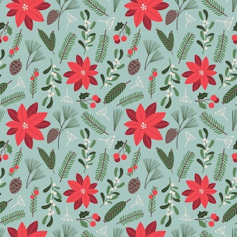 Christmas seamless pattern vector floral illustration with traditional holiday elements