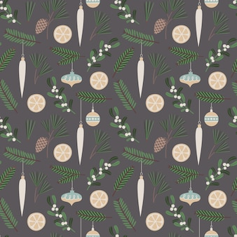 Christmas seamless pattern vector floral illustration with  traditional holiday symbols