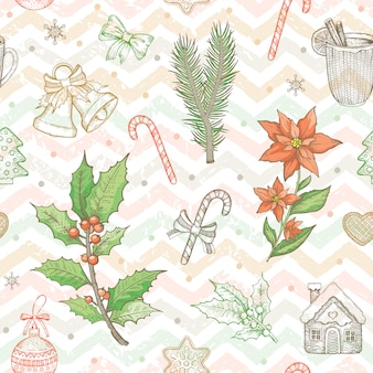 Christmas seamless pattern in vintage sketch style.
