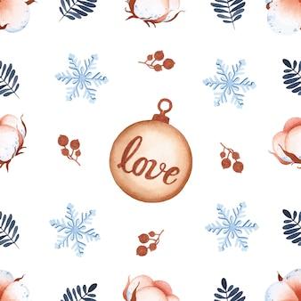白い背景の上のクリスマスのシームレスなパターンの水彩綿の花
