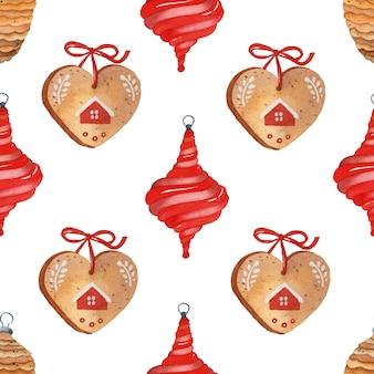白い背景の上のクリスマスのシームレスなパターン水彩素朴な居心地の良いクッキー