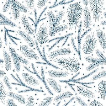 クリスマスのシームレスなパターン、白い背景。松の小枝、赤いベリー、雪片。季節の挨拶デジタルペーパー。冬のクリスマス休暇