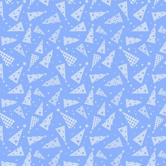크리스마스 완벽 한 패턴입니다. 파란색 배경에 흰색 크리스마스 트리입니다.