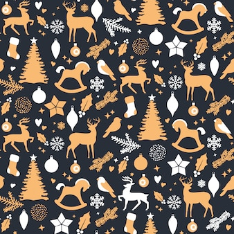 Christmas seamless pattern - white and gold holiday icons on dark background