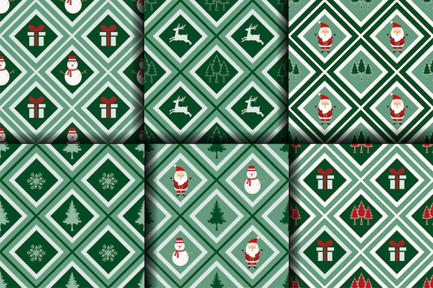 Christmas seamless pattern,winter collection on geometric background