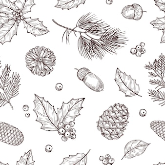 Christmas seamless pattern. winter fir and pine branches with pine cones. vintage wallpaper in traditional engraving style