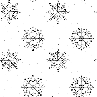 Christmas seamless pattern. winter snowflake monoline