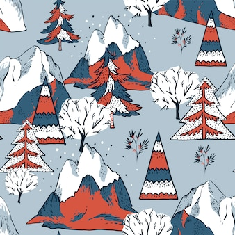 Christmas seamless pattern, winter vintage mountains landscape