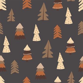 クリスマスのシームレスなパターン、木、松の木、お祭りの雰囲気、魔法の森。