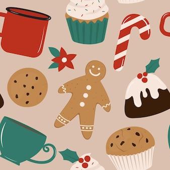 Рождественский фон с иллюстрациями хлебобулочных изделий в плоском стиле