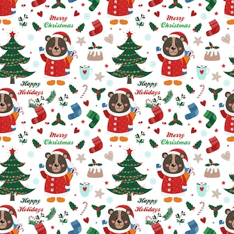 Christmas seamless pattern with bear