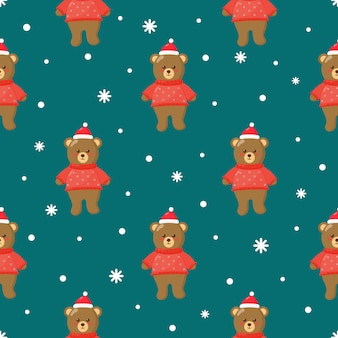 Christmas seamless pattern with bears on blue