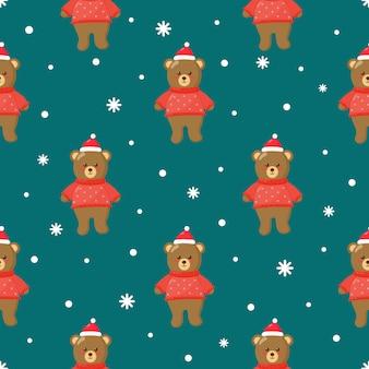 青のクマとクリスマスのシームレスパターン