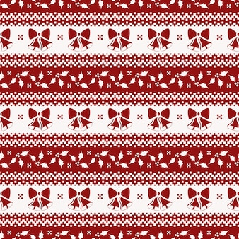 Christmas seamless pattern with bells and holly