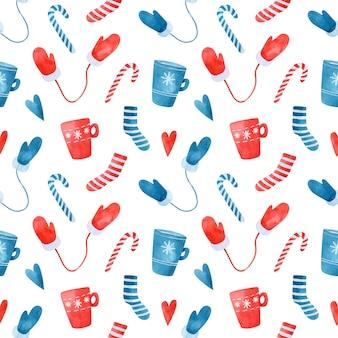 青と赤のストライプの靴下マグカップミトンとキャンディケインとクリスマスのシームレスなパターン