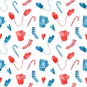 Christmas seamless pattern with blue and red striped socks mugs mittens and candy canes