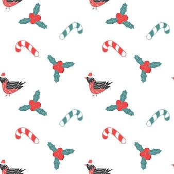 ウソのヒイラギ植物とキャンディークリスマスの休日のベクトル図とクリスマスのシームレスなパターン