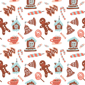 Christmas seamless pattern with cacao drink, ginger cookie, candy cane and lollipop. xmas sweets.