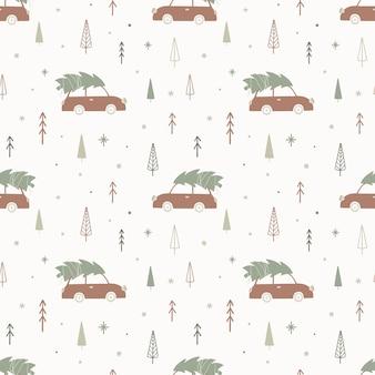 車とモミの木とクリスマスのシームレスなパターン