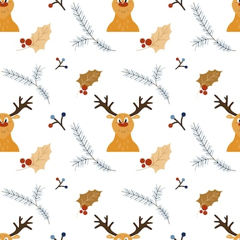 Christmas seamless pattern with cartoon reindeer head and holly decoration holiday vector texture