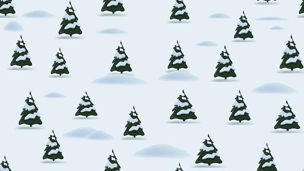 Рождественский фон с мультяшным зимним пейзажем, соснами и сугробами