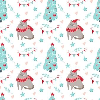 猫、木、白い背景で隔離の星とクリスマスのシームレスなパターン。ベクトルフラットイラスト。背景、ラッピング、壁紙、テキスタイル、パッケージングのデザイン