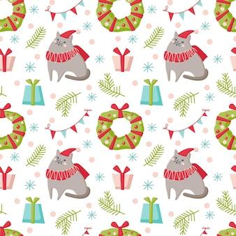 猫、花輪、白い背景で隔離のギフトとクリスマスのシームレスなパターン。ベクトルフラットイラスト。背景、ラッピング、壁紙、テキスタイル、パッケージングのデザイン