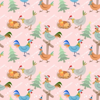 Christmas seamless pattern with chicken and tree in farm.