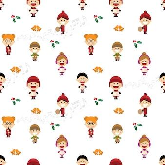 Christmas seamless pattern with children singing carols.