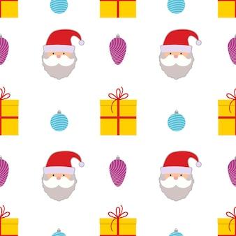 クリスマスボール、ギフトボックス、白い背景の上のサンタクロースとクリスマスのシームレスなパターン。ベクトルイラスト