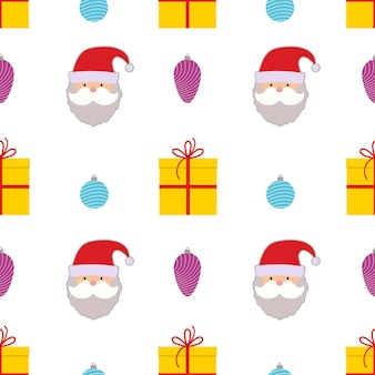Christmas seamless pattern with christmas ball, gift box and santa claus on white background. vector illustration