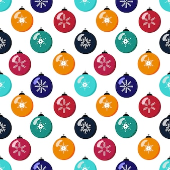 Christmas seamless pattern with christmas balls and decorations on white background. hand drawn vector illustration
