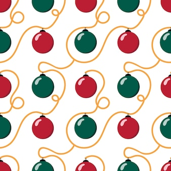 Christmas seamless pattern with christmas balls and decorations on white background