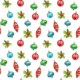 Christmas seamless pattern with christmas balls and holly.  illustration in sketch style.
