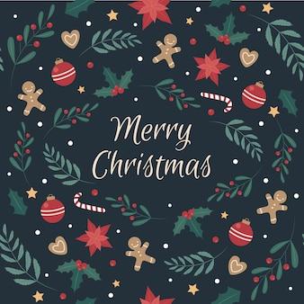 Рождество бесшовный образец с рождественским печеньем и художественными оформлениями.