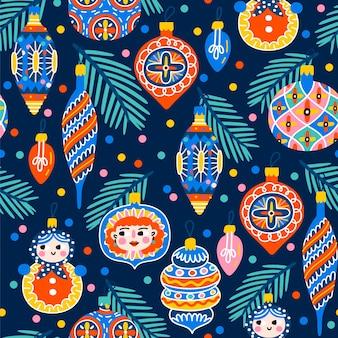 クリスマスツリーの装飾とクリスマスのシームレスなパターン