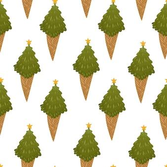 クリスマスツリーのアイスクリームとクリスマスのシームレスなパターン。ベクトル手描き漫画イラスト。