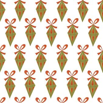 白い背景の上のクリスマスツリーのおもちゃとクリスマスのシームレスなパターン。ベクトル手描き漫画イラスト。