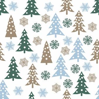 クリスマスツリーと雪片とクリスマスのシームレスなパターン