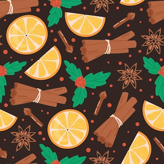 Christmas seamless pattern with cinnamon orange clove and holly plant