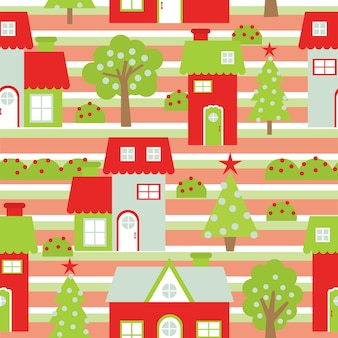 Christmas seamless pattern with colorful houses and xmas tree on striped background