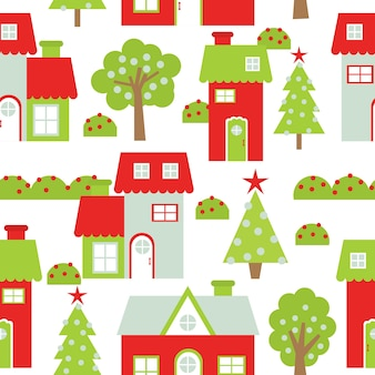 Christmas seamless pattern with colorful houses and xmas tree