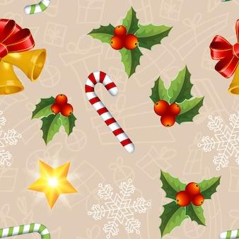 Рождественский фон с красочными листьями омелы, леденцами, звездами и колокольчиками