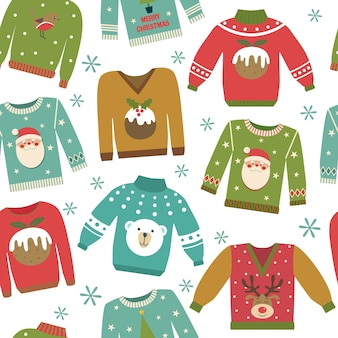 Christmas seamless pattern with colorful ugly jumpers.