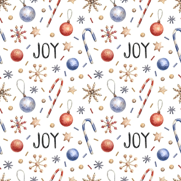 Christmas seamless pattern with confetti, candies, snowflakes.