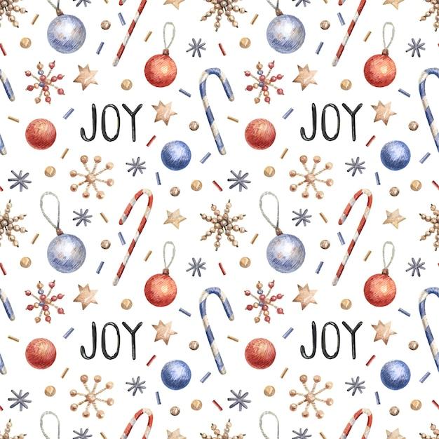 Рождественский фон с конфетти, конфетами, снежинками.