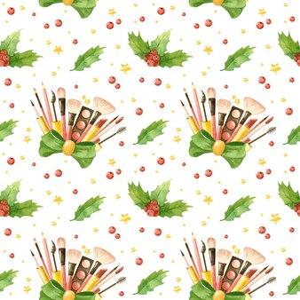 化粧品とヒイラギの葉のクリスマスのシームレスなパターンメイクアップデジタルペーパー